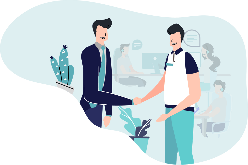 man shaking hand illustration